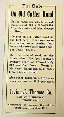 1940 Original Vintage Print Ad Irving J Thomas Florida Land For Sale Cutler Road
