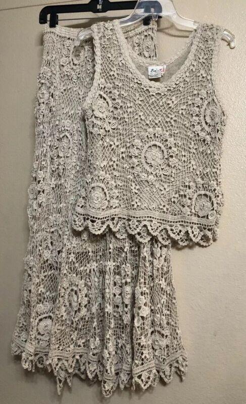 Vintage 3Piece M Crochet Lace Top&Skirt Maxi Dress Set Natural Cream Tan Lim's