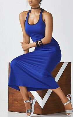 Fabletics Dress Small Blue Racer Back Long Mosa Maxi Stretch