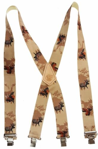 """Bull Moose American Made Custom 2"""" Wide Suspenders Metal Clips Outdoorsman"""