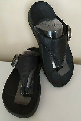 Comfy HOOPER Black Fitflops Sizr 6 Very Soft Leather Buckle Toe Posts Worn Twice