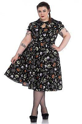 Hell Bunny Plus Size Gothic Halloween Black Cat Salem 50's Dress 2X 3X 4X ()