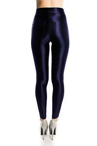 American Style Black Shiny High Waisted High Shine Stretchy Disco Pants Leggings