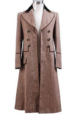 Halloween Costume Doctor Who Doctor Ecru Brown Long Trench Coat (Brown Coat Halloween Costume)