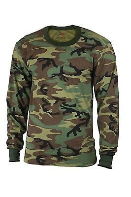 Camo Long Sleeve Mens T-shirt - Mens Camouflage T-Shirt - Long Sleeve, Woodland Camo by Rothco T SHIRT S TO 5X