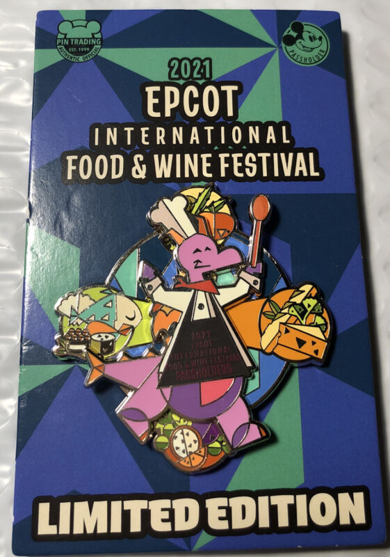 Disney 2021 Epcot Food And Wine Festival Figment Passholder LE Slider Pin