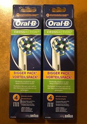 8 BRAUN ORAL B CROSS ACTION TOOTHBRUSH REPLACEMENTS BRUSH HEADS REFILLS