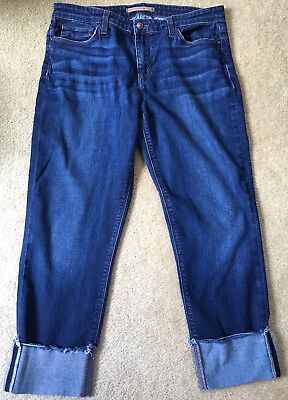 Capri JOE'S JEANS EDA Cuff Cropped Blue Denim Pants W31 Actual W32.5 Cuff Capri Pants Jeans