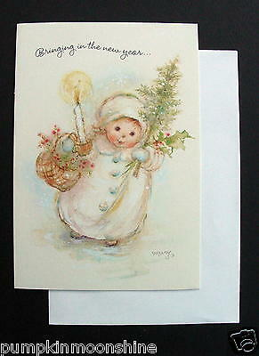 #F109- Unused Mary Hamilton Xmas Greeting Card Girl with Holiday Gifts in Hand