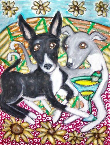 Italian Greyhound with Martinis 11 x 14 Art Print Dog Collectible Artist KSams