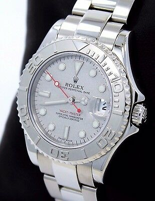 Rolex Yacht Master 168622 35mm Steel Oyster Perpetual Platinum Bezel Watch MINT*