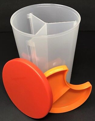 Tupperware 3 in 1 Divided Canister 6 Cup Storage Container Orange Seal New