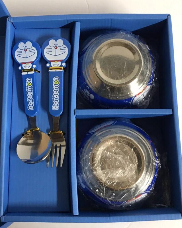 VTG Doraemon Metal 4 Piece Meal Dinner Set - Fork Spoon 2 Rice Bowls New in Box