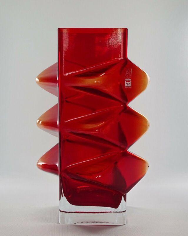 VTG Riihimaki lasi Erikkitapio Siiroinen Art Glass Red PABLO Vase #1386 Finland