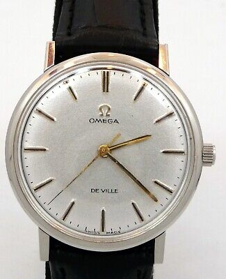 NICE VINTAGE THIN MEN 1964 OMEGA DE VILLE MANUAL WIND S-STEEL WATCH SERVICE 600, used for sale  Shipping to India