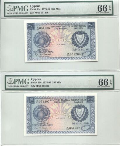 CYPRUS 1976 250 MILS PICK 41c  CONSECUTIVE PMG 66 EPQ PAIR