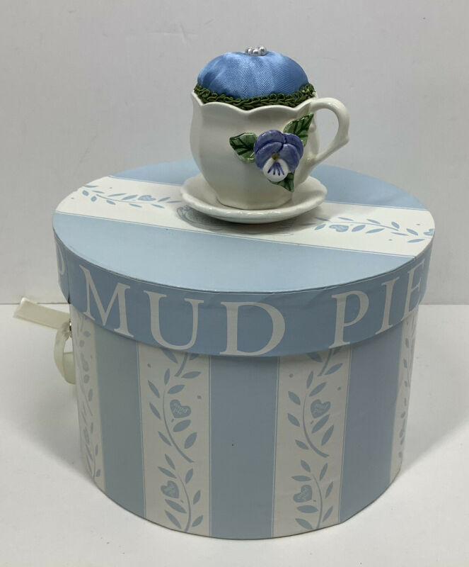 Vintage Mudpie Tea Cup Pin Cushion With Box NOS