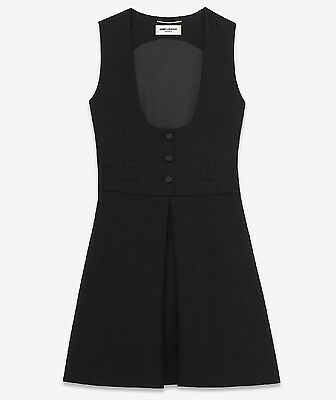 Saint Laurent Slimane YSL A-Line Tuxedo Mini Dress in Black Wool FR 34 - $3,565