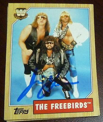 Jimmy Garvin Signed 2007 Topps Heritage III WWE Card #75 Auto The Freebirds WCW