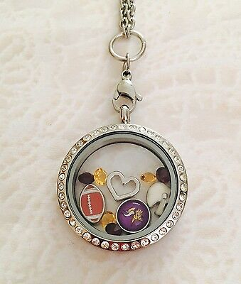 Minnesota Vikings charm  Memory locket Stainless Steel - Minnesota Vikings Memory