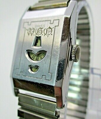 ELBON 7J JUMP HOUR  Men's Wrist Watch ,SWISS vintage 1940s,  runs , 4 repair