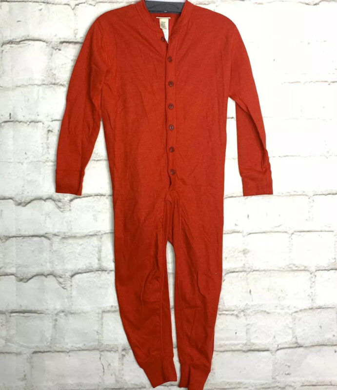 LL Bean Kids Red 2 Layer Long Underwear Union Suit Size 8 Wool Blend