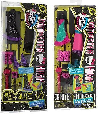 48x Monster High Color me Creepy, add-on, Create a, Mattel,Posten,Kleider schuhe