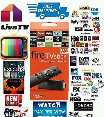QUAD-CORE AMAZON FIRE TV STICK JAILBROKEN FULLY LOADED MOVIES LIVE TV MOBDRO PPV