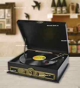 Retro Vintage USB Turntable Vinyl Record Player Bluetooth Speakers AM/FM Radio