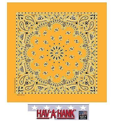 USA MADE Hav-A-Hank GOLD PAISLEY Bandana BANDANNA SCARF Scarve Head Wrap Hanky - Gold Bandanas