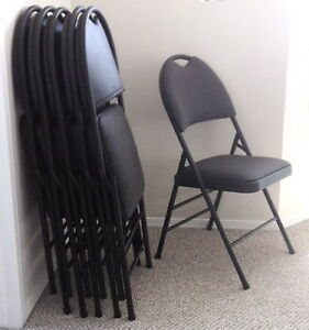 6 Folding Chairs - Upholstered Excellent Condition