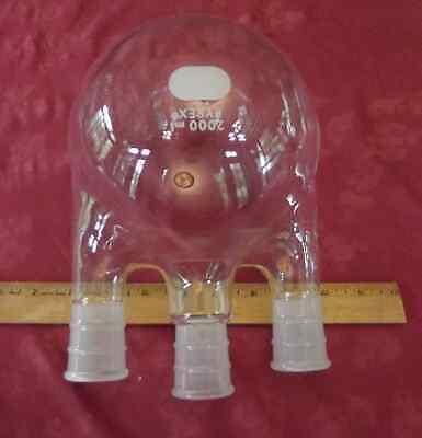 Pyrex Glass Usa 2000ml 2l Round Bottom 3 Arm Neck Boiling Reaction Flask Vessel