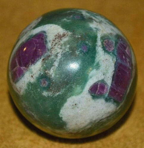 Polished Ruby Zoisite Fuchsite Sphere Crystal Ball Massage Reiki Healing, India