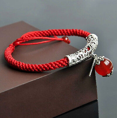 Feng Shui handmade red string bracelet with natural red agate bead for good luck