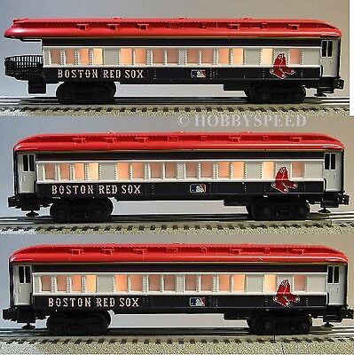 LIONEL BOSTON RED SOX (3) PASSENGER CARS coachs & observation 7-12012 C