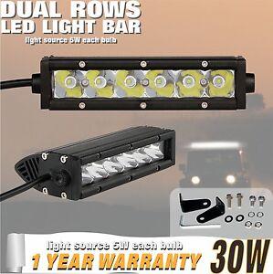 30w-7inch-Punto-Barra-Individual-Fila-LED-CREE-todoterreno-Luz-UTE-4x4wd-Jeep