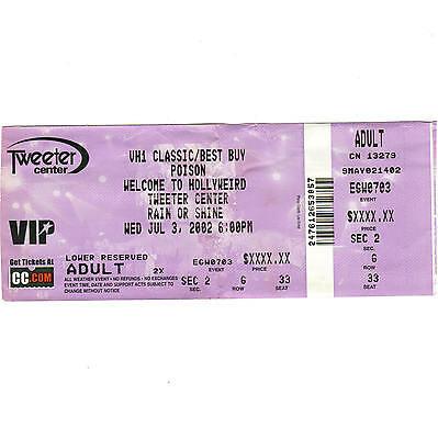 POISON & WINGER & CINDERELLA & FASTER PUSSY Concert Ticket Stub 7/3/02 MANSFIELD