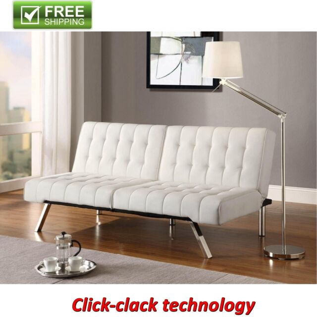 convertible futon vanilla faux leather sofa bed modern sleeper couch guest bed