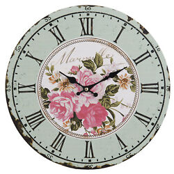 Clayre & eef Wall Clock Rose Decor MDF Shabby Cottage Vintage 13 3/8in