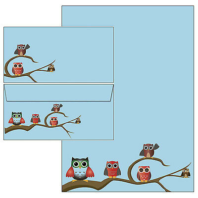 Happy Eule Eulen blau Set Motivpapier Briefpapier 10 Bl. A4 + 10 Kuverts Kinder