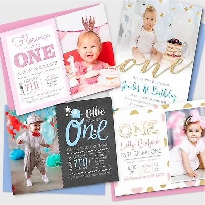 Personalised 1st Birthday Invitations First Party Invites Photo Boy Girl #047