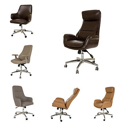 Glitzhome Adjustable Executive Office Chairs Pu Leather Swivel High Back Seats