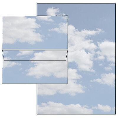 Wolken Clouds Himmel blau Set Motivpapier Briefpapier 10 Blatt A4 + 10 Kuverts