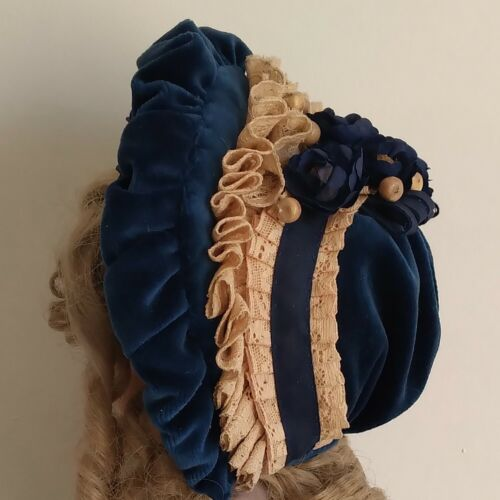 "Velvet / laces  bonnet for antique French or German doll  20"" - 21"""