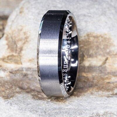 Tungsten Ring Wedding Band Brush Finish Beveled Edges Comfort Fit 7mm 8 to 15 Brushed Finish Beveled Edges