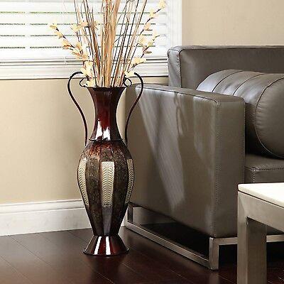"Tall 2-Tone Metal Floor Vase Decorative Display 26"" Silver B"