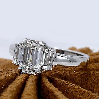 1.80 Ct 3-Stone Emerald Cut Diamond & Baguettes Engagement Ring G,VS1 GIA 14K WG 1
