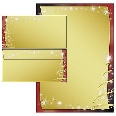 Weihnachten schwarz rot gold Motivpapier Briefpapier 20 Blatt A4 + 20 Kuverts