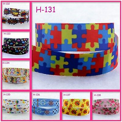 Autism Awareness Puzzle Print Grosgrain Ribbon Packing Wedding Party - Ivory Ribbon