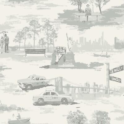 Brooklyn Bridge Trees New York Toile Wallpaper Metallic Silver Grey Holden Decor